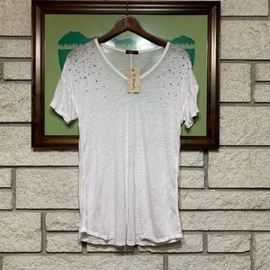 T Party V-neck White Top